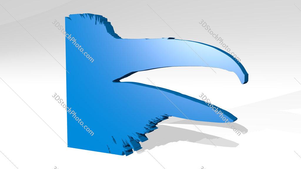 raven beak 3D icon casting shadow