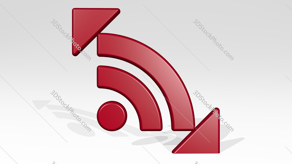 news feed sign 3D icon casting shadow