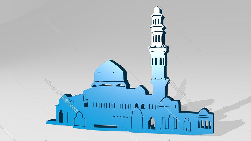 Arabic building 3D icon casting shadow