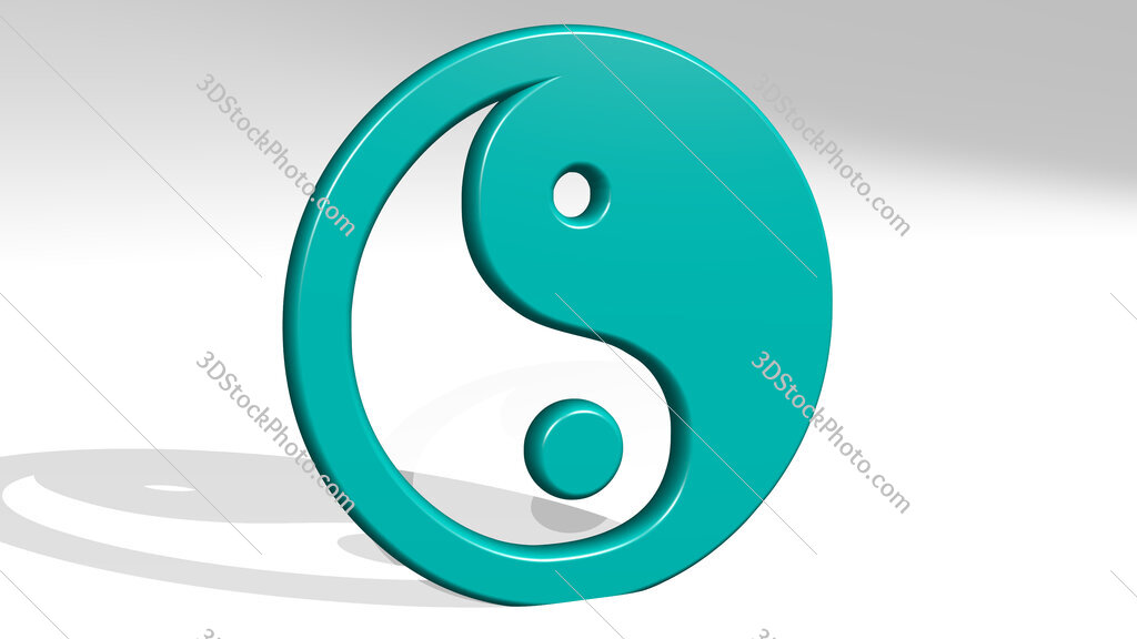 Chinese yin and yang symbol 3D icon casting shadow
