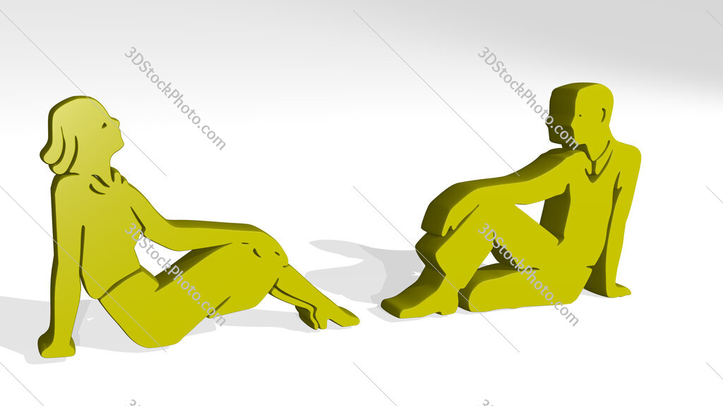 mn and woman siting on the floor 3D icon casting shadow