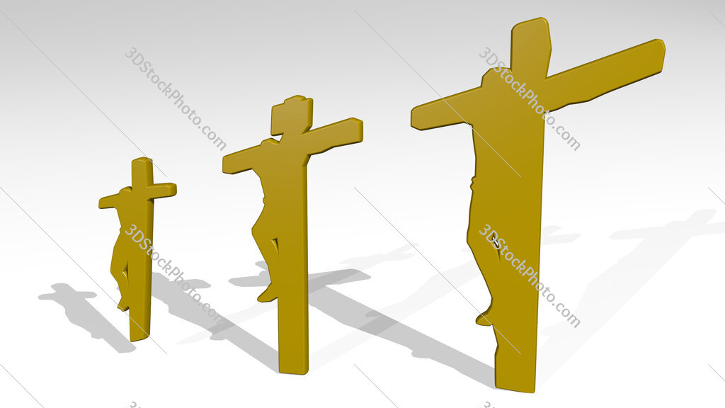 people crucified on Christian cross 3D icon casting shadow