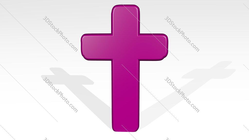 Christian cross 3D icon casting shadow