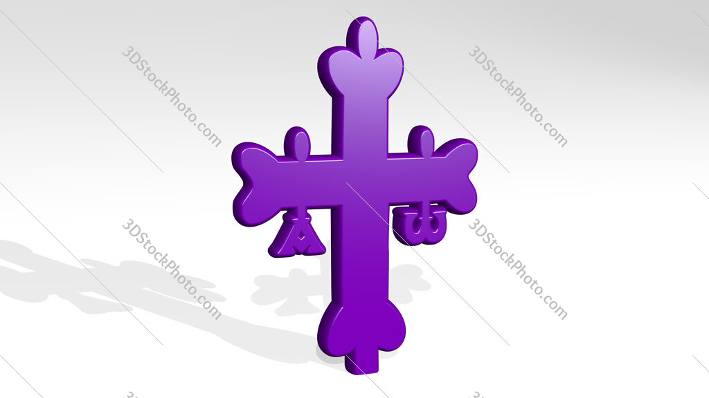 Christian cross 3D icon casting shadow