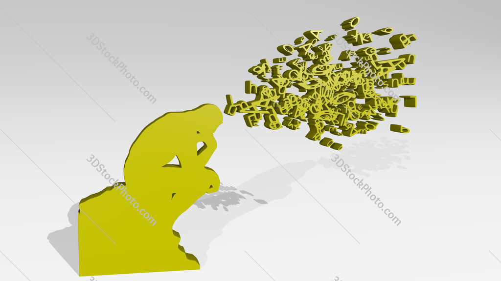 man with thoughts in letters 3D icon casting shadow