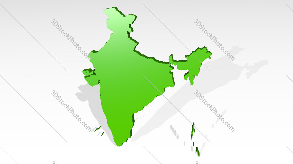 map of India 3D icon casting shadow