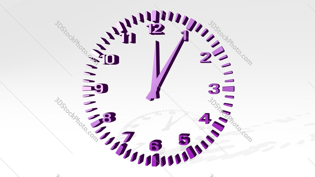 wall clock 3D icon casting shadow