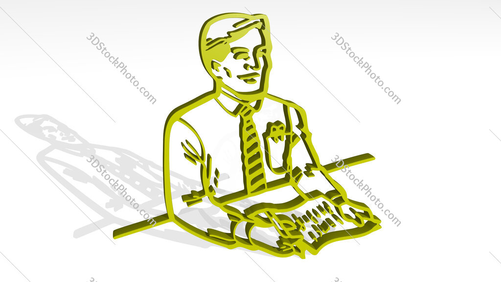 news anchor or interviewer 3D icon casting shadow