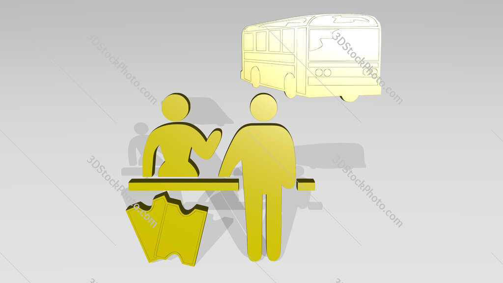 woman selling bus ticket to man 3D drawing icon on white floor