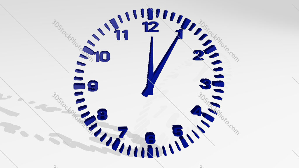 wall clock 3D drawing icon on white floor