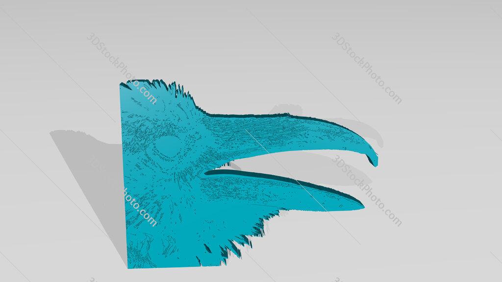raven beak 3D drawing icon on white floor