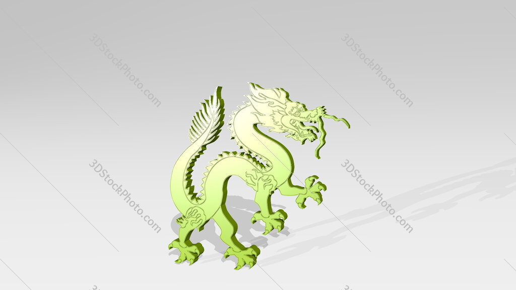 Chinese dragon 3D drawing icon on white floor