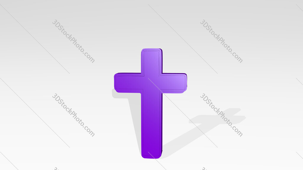 Christian cross 3D drawing icon on white floor