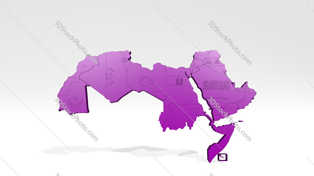 map of North Africa 3D drawing icon on white floor