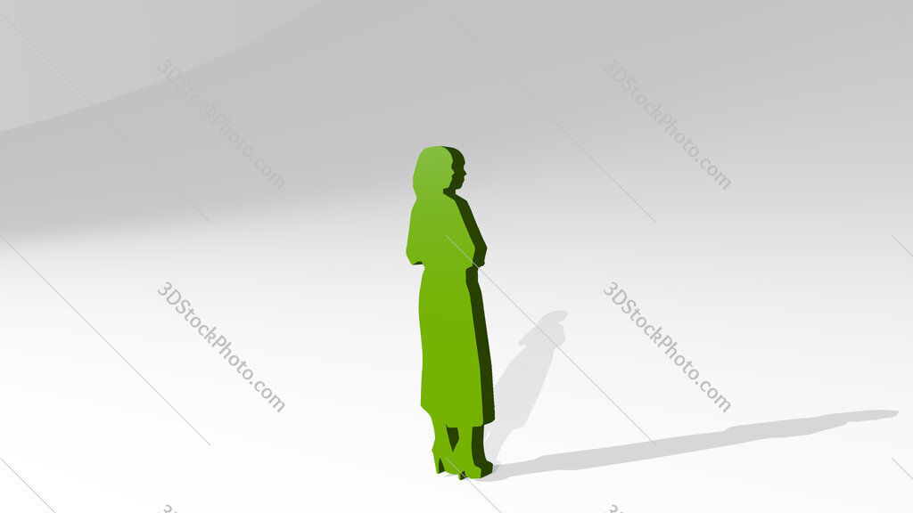 woman with high heel shoes 3D drawing icon on white floor