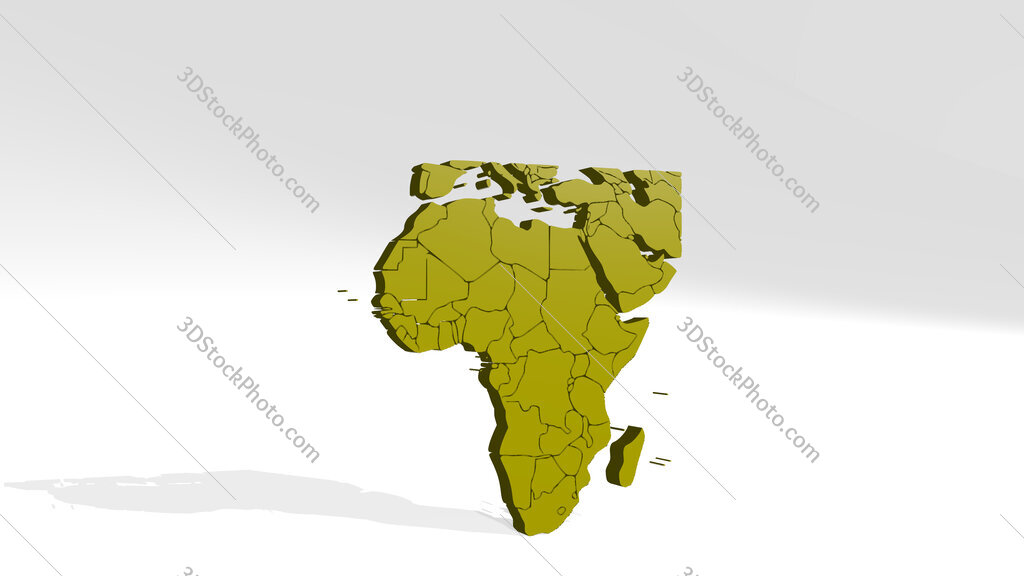map of Africa 3D drawing icon on white floor