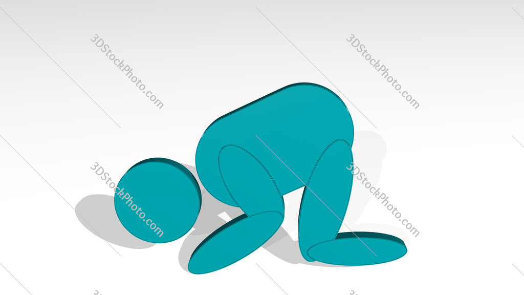 Muslim prayer sign 3D drawing icon on white floor