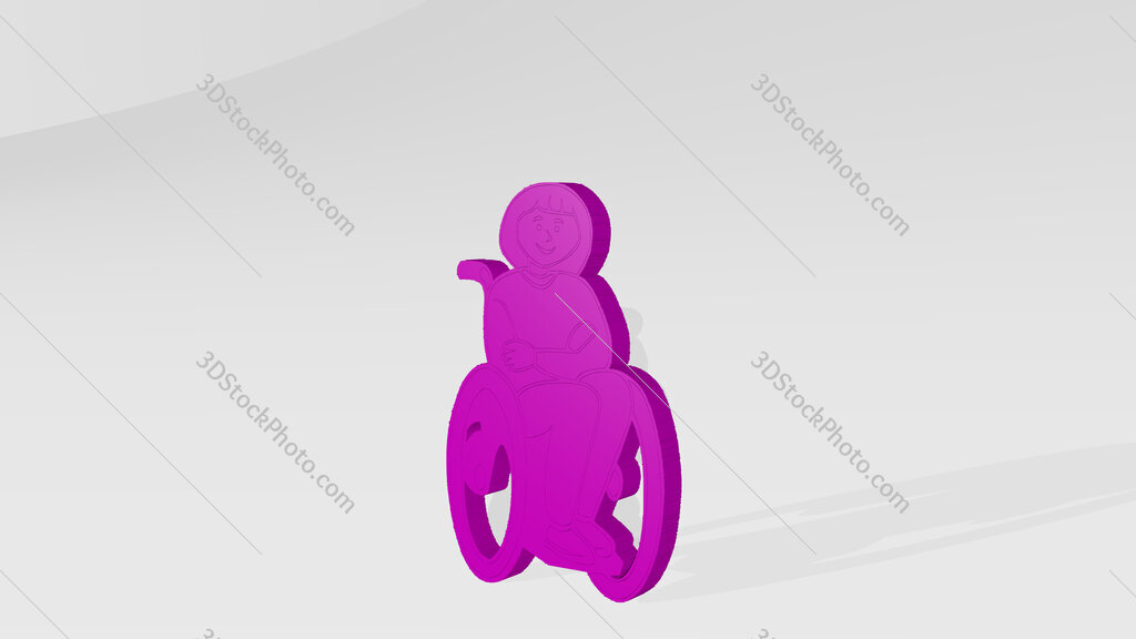 disabled person 3D drawing icon on white floor
