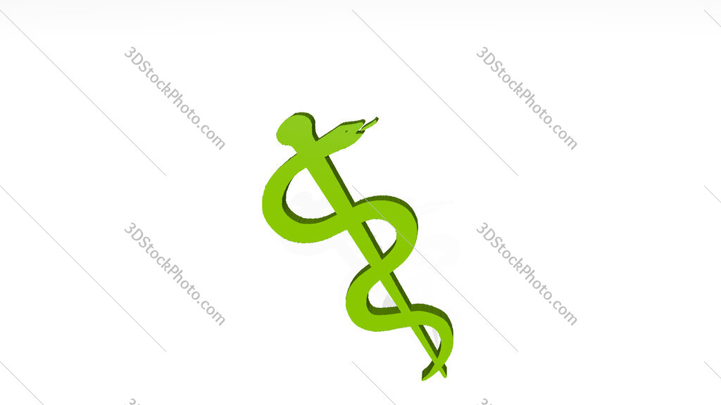medical snake sign 3D drawing icon on white floor