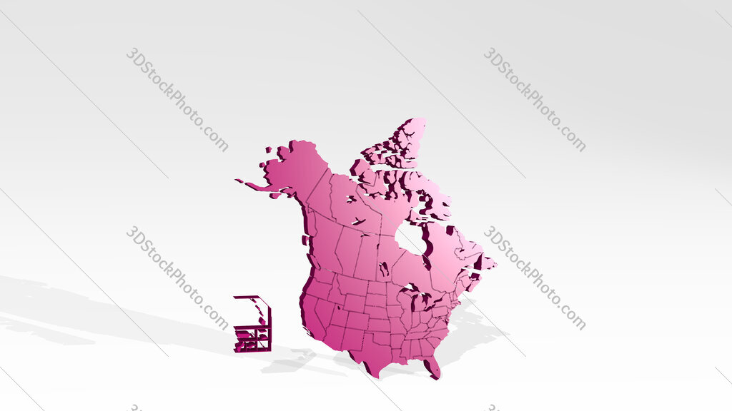 man of the United States and Canada 3D drawing icon on white floor