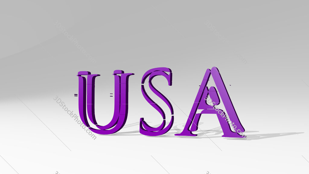 USA sign in letters 3D drawing icon on white floor