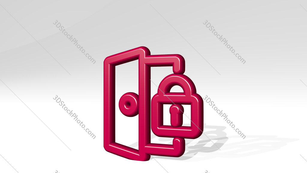 login lock 3D icon casting shadow