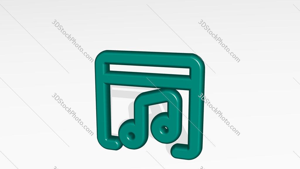 app window music 3D icon casting shadow