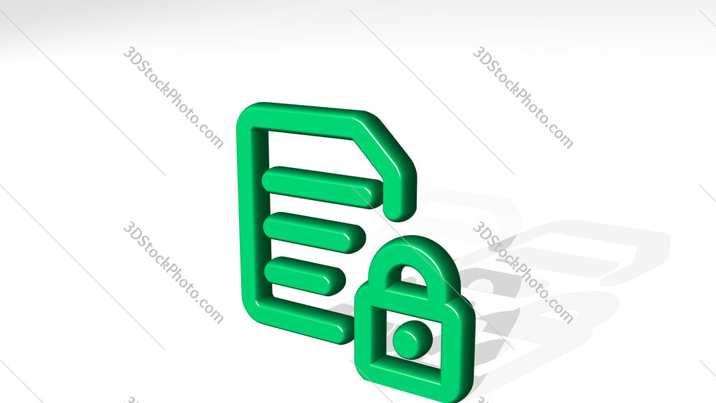 common file text lock 3D icon casting shadow