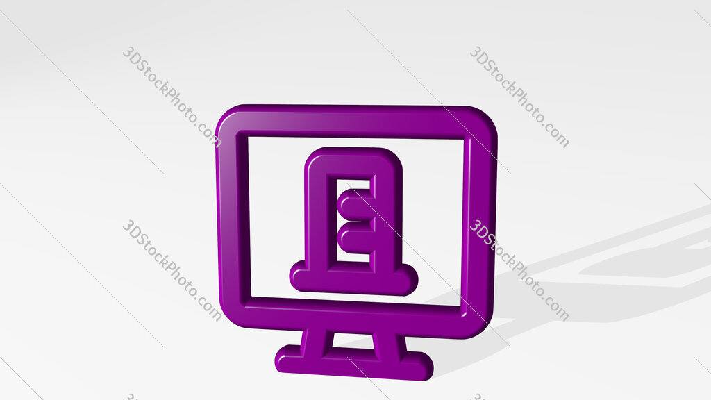 real estate app building monitor 3D icon casting shadow