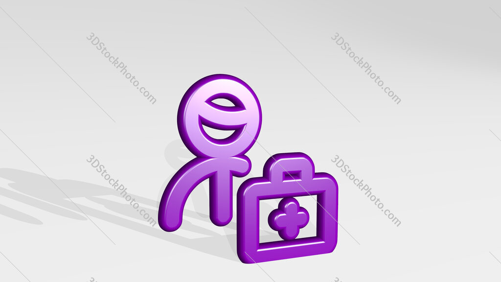 medical personnel doctor 3D icon casting shadow