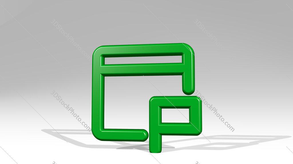 app window flag 3D icon casting shadow