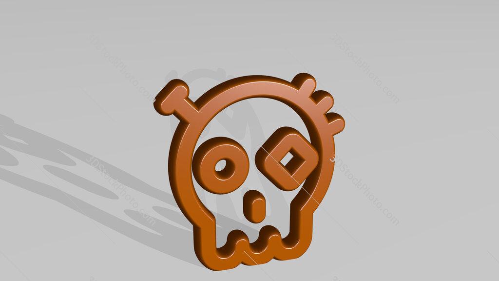 steampunk decoration dia de los muertos 3D icon casting shadow