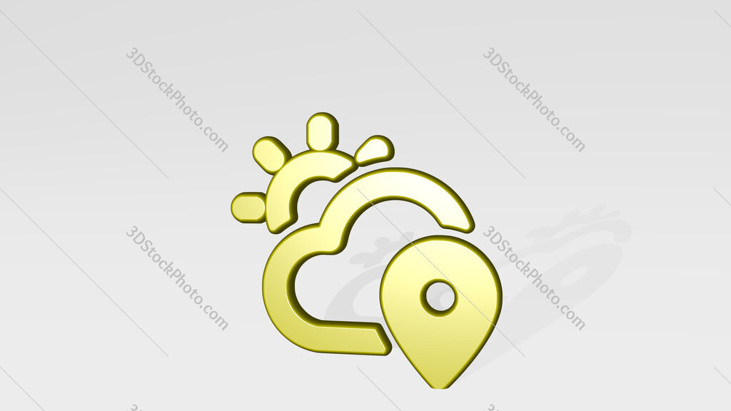 weather app sun cloud location 3D icon casting shadow