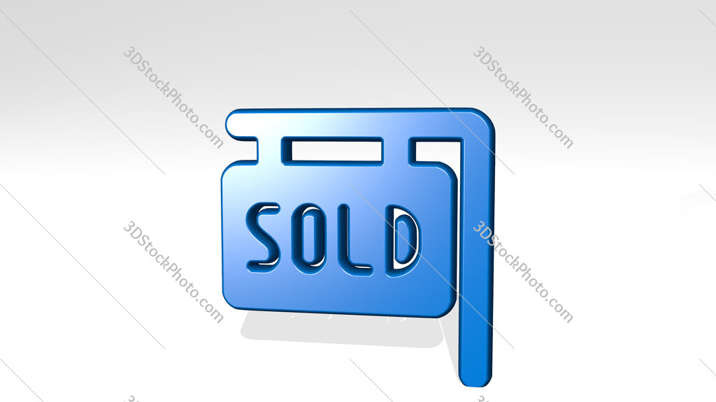 real estate sign board sold 3D icon casting shadow