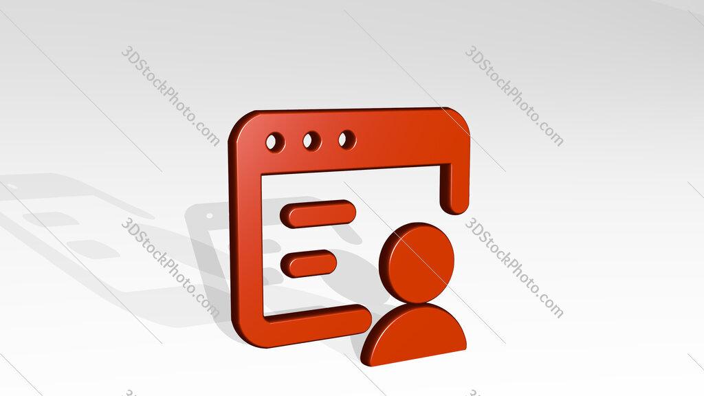 app window user 3D icon casting shadow