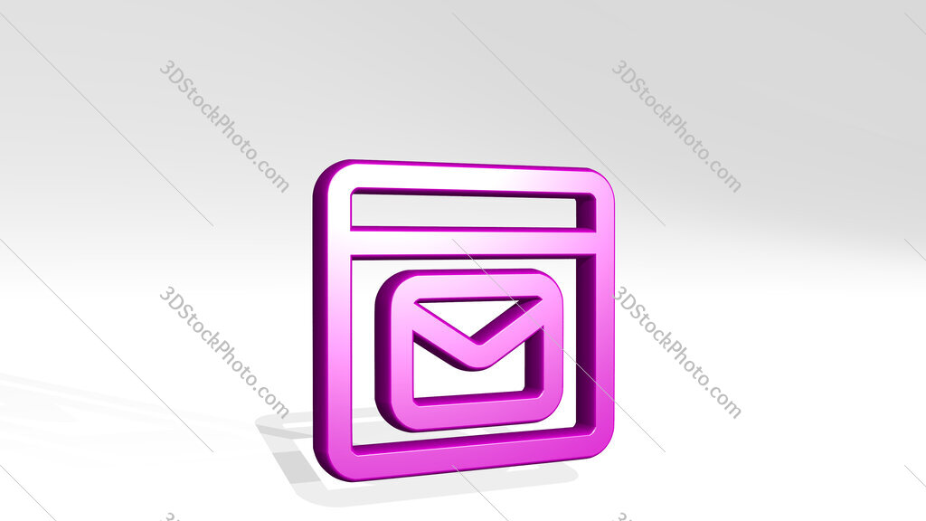 app window mail 3D icon casting shadow