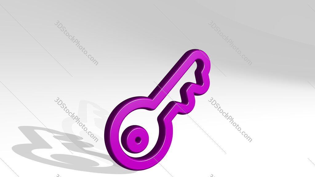 login key 3D icon casting shadow