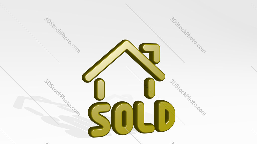 real estate sign house sold 3D icon casting shadow