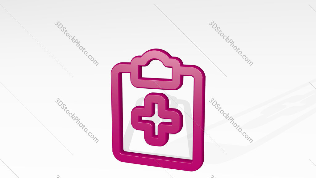 medical notes 3D icon casting shadow