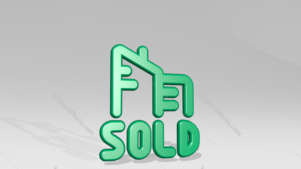 real estate sign building sold 3D icon casting shadow