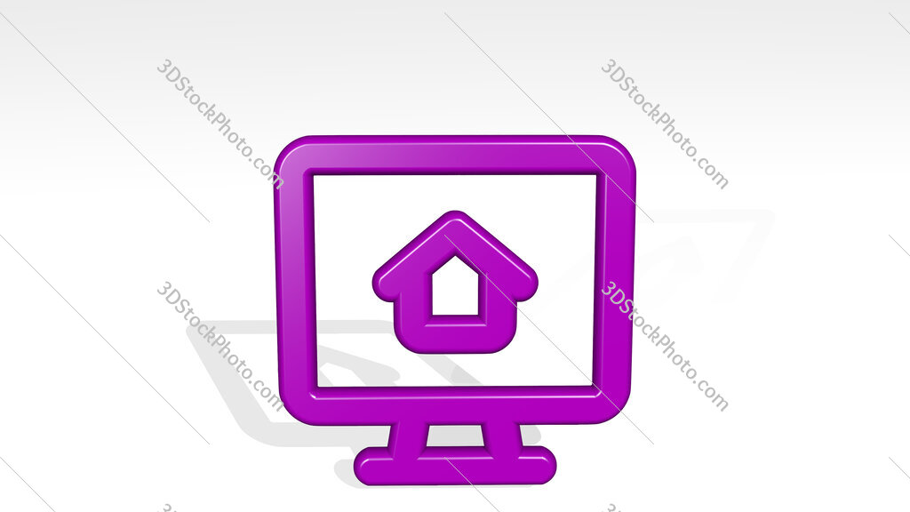 real estate app house monitor 3D icon casting shadow