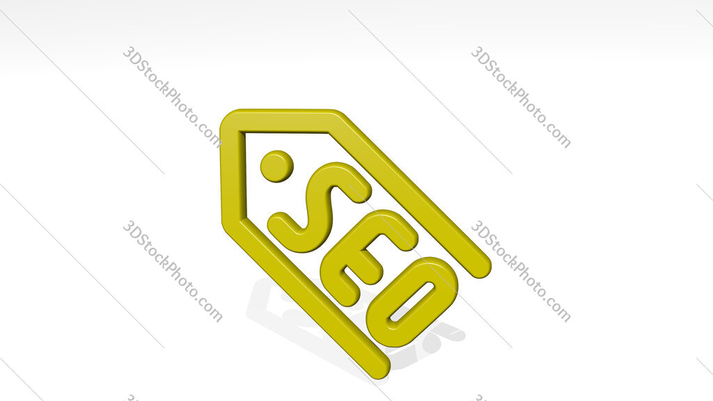 seo label 3D icon casting shadow