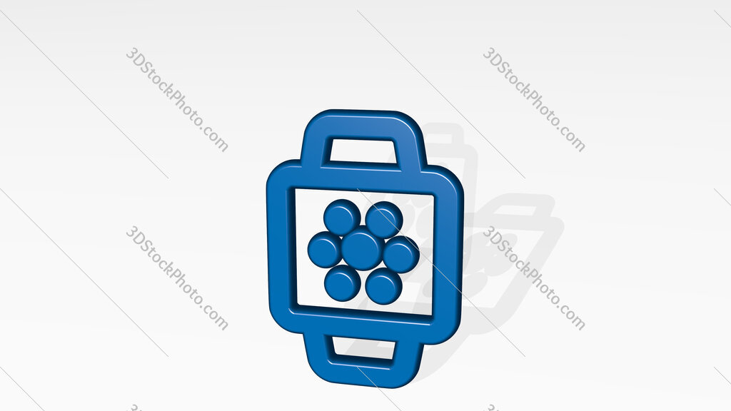 smart watch square app 3D icon casting shadow