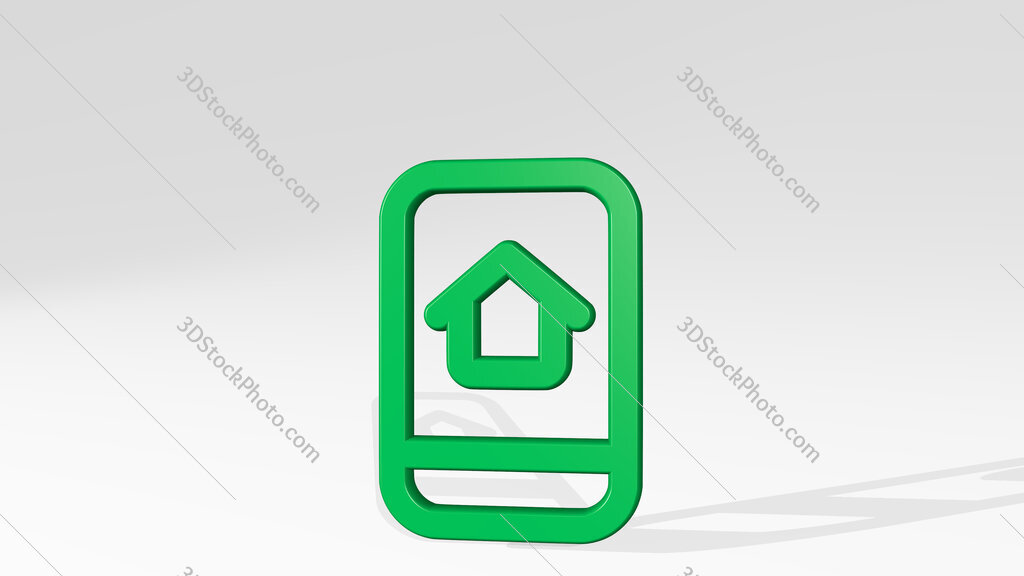 real estate app house smartphone 3D icon casting shadow