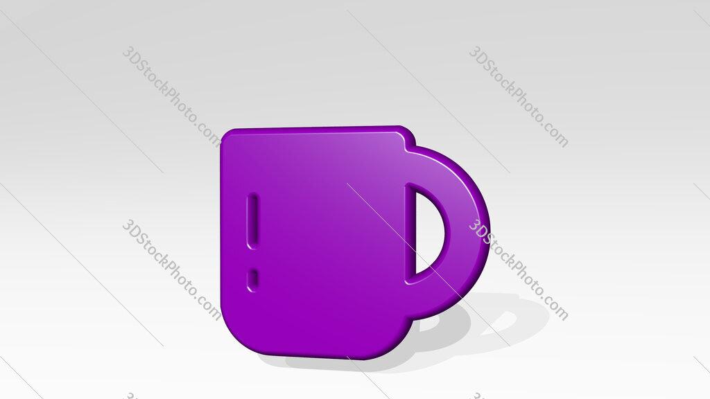 coffee mug 3D icon casting shadow