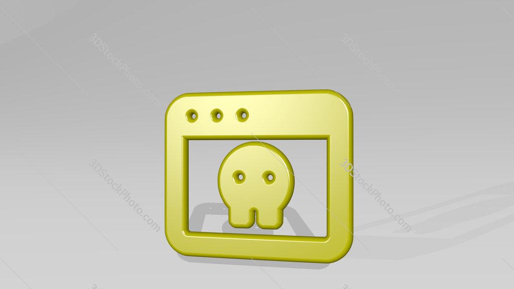 app window skull 3D icon casting shadow