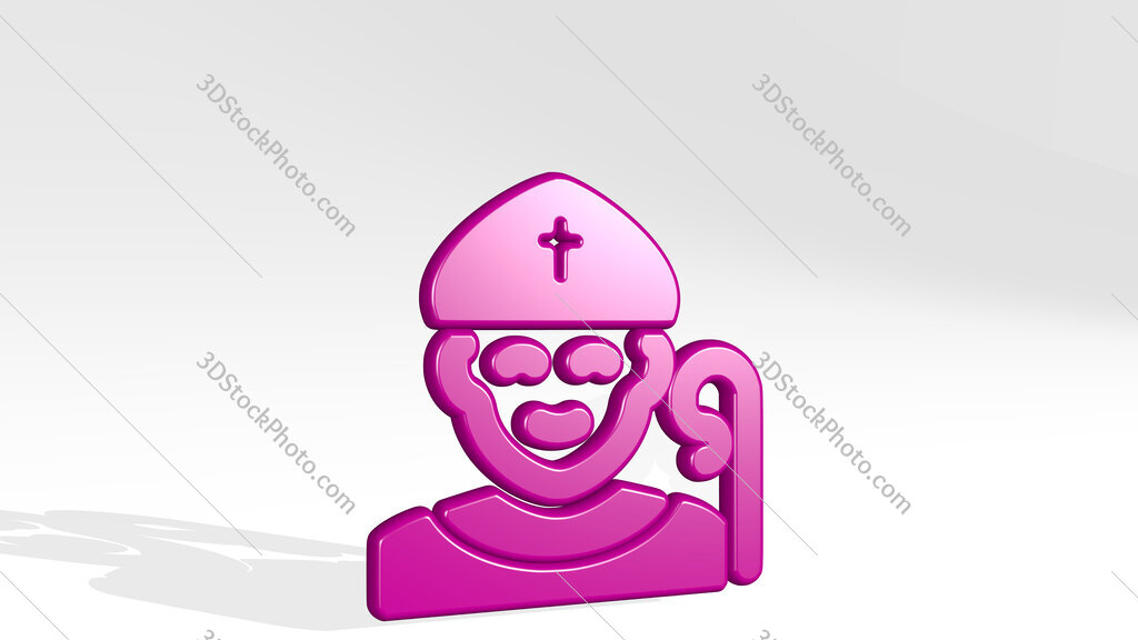 religion man christian 3D icon casting shadow