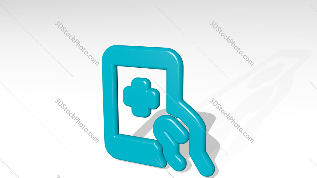 medical app tablet 3D icon casting shadow
