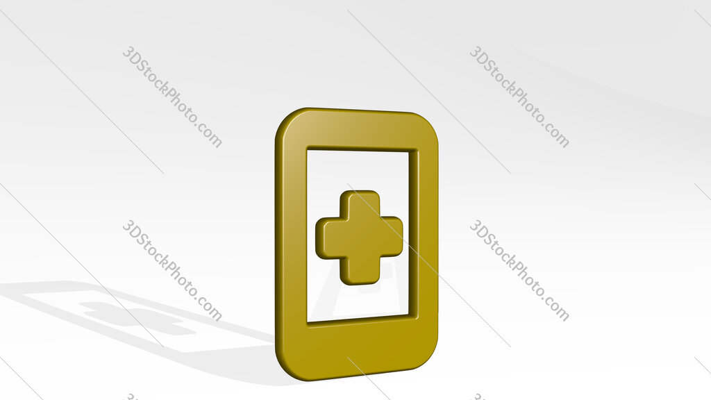 medical app smartphone 3D icon casting shadow