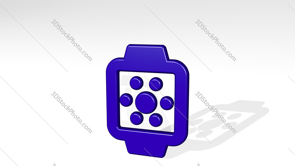 smart watch square app alternate 3D icon casting shadow